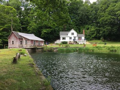 Photo for Case Mill-Secluded Berkshire farmhouse, mill, pond, waterfall, 28 acre forest.