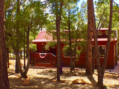 Photo for SWEET, IMPECCABLE CABIN IN THE PINES ! HIKING, LAKES NEARBY!