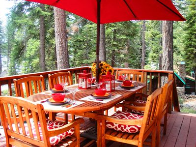 Enjoy a meal on the deck in the beautiful Tahoe summer weather.