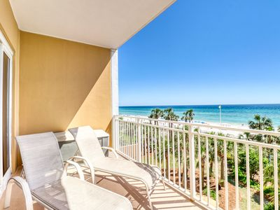Photo for Gorgeous condo with beach views, shared heated pool, walk to pier park!