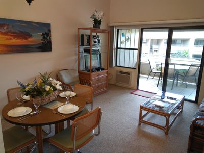 Dining, living and lanai. wonderful condo on the 2nd floor away from road
