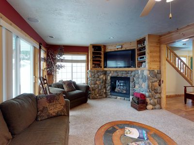 Photo for Plush condo w/ gas fireplace - walk to lake beaches, golf & Ponderosa State Park