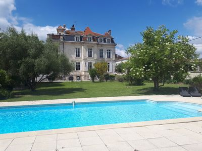 Photo for Castle in St Fort sur Gironde in Charente Maritime, France. Heated pool