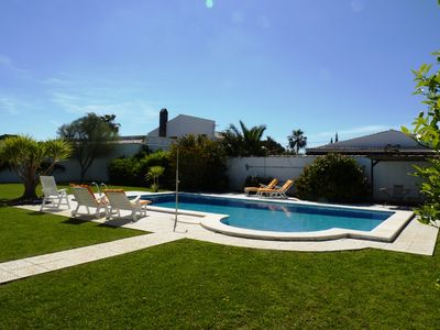 Rear garden with large 10m x 5m pool  (April 2013)