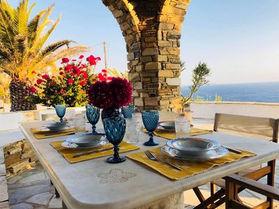 Photo for Maison Simone in Tinos overlooking the Aegean Sea - A great escape experience.