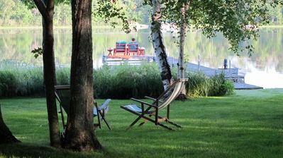 The level lake frontage is private and serene.