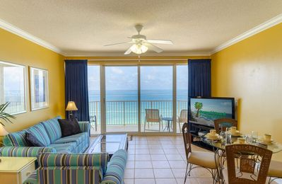 Welcome to Emerald Shores Escape, Boardwalk 1206 in Panama City Beach, FL!  What a view!! Large, Gulf-front great room with open floor plan!