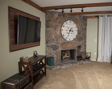 Living Room FIre place and TV.
