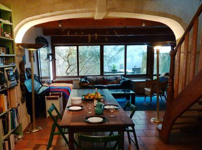 Dining area and sliding windows