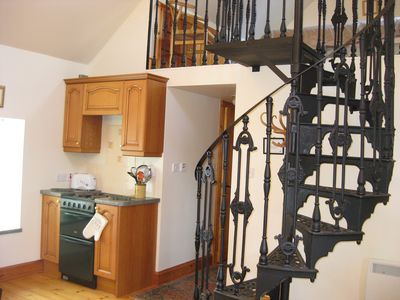 Spiral stair to upstair room and part Kitchen
