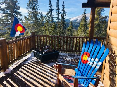 Ski chairs and firepit on the deck.