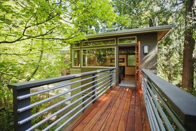Bridge to the Urban Tree House, which doubles as a deck.