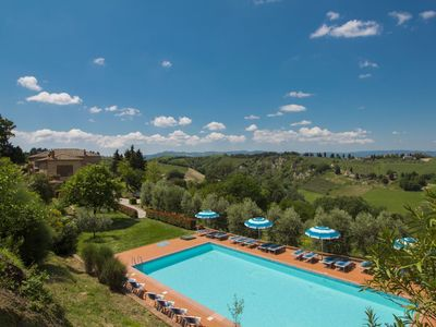 Photo for Nice apartment in villa for 6 people with pool, WIFI, TV and parking, close to San Gimignano