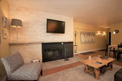 Stone Fireplace and Flat Screen TV
