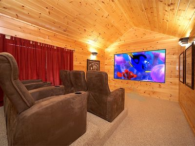 Photo for Escape to a Luxury Cabin with Private Theater Room - Arts and Crafts Location