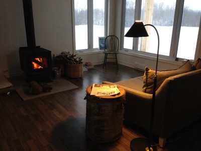 Relax by the high-efficiency wood-burning stove