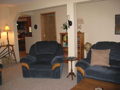 Nice recliner for watching TV plus a pull out couch if needed for groups over 13