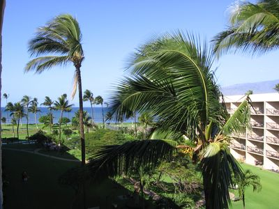 Photo for Maui views from top floor of oceanfront resort, first class interior