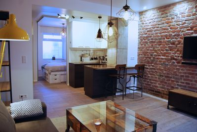 Open plan loft style living and dining