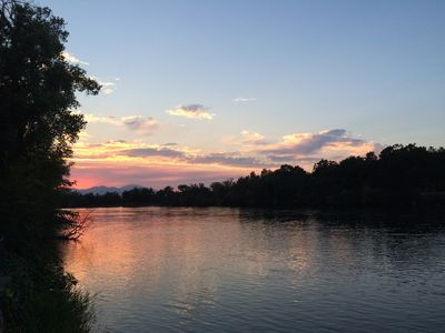 Sunset in the backyard along the river