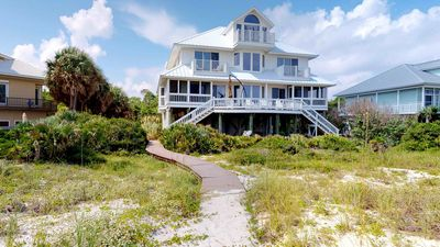 "Photo for Ready After Hurricane Michael! Spoil Yourself and Fido too! Beachfront Plantation Home w/ Beach Gear, Fireplace, 5BR/6BA ""Anatalia"""