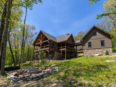 """Photo for Papa Bear Lodge- New home in Eagles Nest- views, fire pit, arcade, 75"""" tv"""