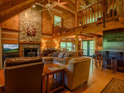 Photo for Log Cabin Getaway with Views of Grandfather, Stone Fireplace, Game Room, Close to Attractions