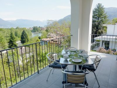 Photo for Modern 3 bedroom apartment in Cannobio with lake view terrace close to the center