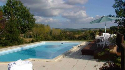 Photo for Gascon farmhouse with large 10x5 metre pool and great views over the Gers