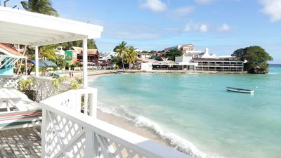A view from the deck overlooking the Caribbean sea