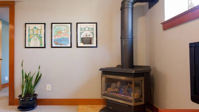 Keep things cozy with the gas fireplace.