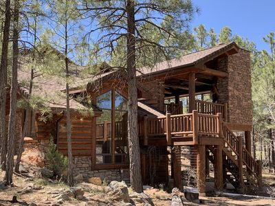 Photo for 5 Bdr Torreon log cabin: beautiful deck, golf view, free wifi, media room