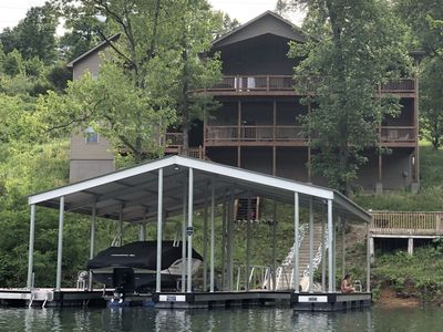 Photo for NEW! 7Bed/7Ba Lakefront Home w/Attached In-Law Suite & Private Covered Dock