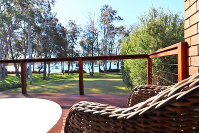 Sit on the deck and enjoy the lake breeze