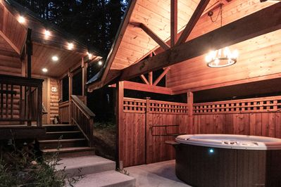 Private covered hot tub for anytime of the year. Relax and unwind.