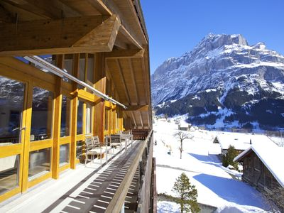 Photo for Stunning Uninterrupted Eiger Views  (Floor-to-Ceiling windows,  Attic apartment)