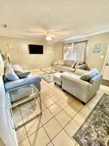 Family room with sleeper sofa and Firestick TV