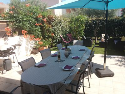 Photo for 1 km from the sea in Fréjus, large duplex apartment fully air conditioned.