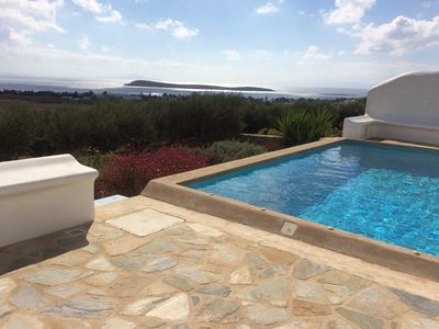 Photo for Stunning Villa with uninterrupted view of five Aegean Islands and private pool