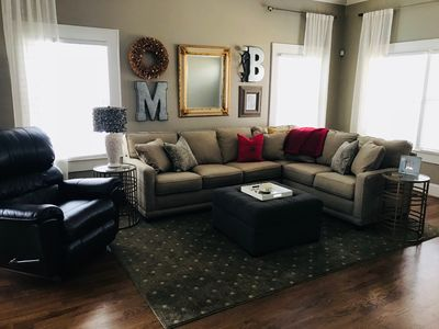 Living room with a 55 inch TV and home audio system