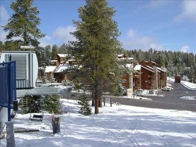 This is our Breckenridge CO condo (pictured) & Snowflake Chairlift (foreground).