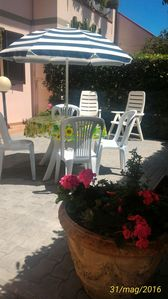 Photo for apartment at 1500 meters from the sea on the ground floor with two outdoor spaces