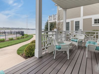 Photo for Walk to downtown townhouse with pool & view of the harbor!