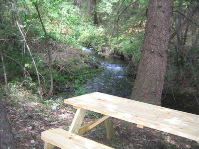 Private picnic table by year-round stream - only on this property. Includes swing