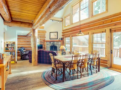 Photo for Ski-in/ski-out log home with private hot tub! Great mountain views