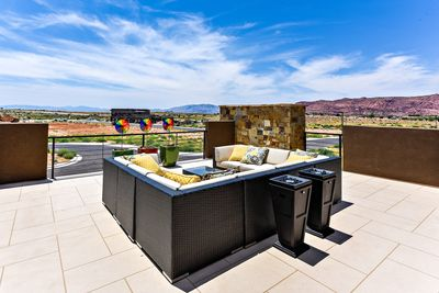 Front Patio View - The views from the Upstairs Patio overlook the cliffs of Snow Canyon and the neighborhood amenities.