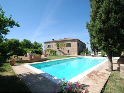 """Photo for Attractive independent villa lied in the superb landscape well known as """"Le Crete Senesi"""" area, with breathtaking views over the rolling hills. Private garden and pool."""