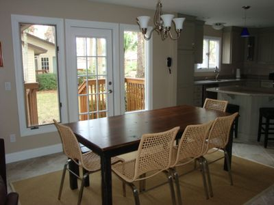 Dining area with bench, seats 8