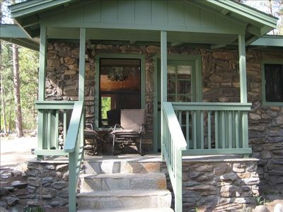 Relax, sip some wine, and enjoy the sites & sounds of nature on the back porch.
