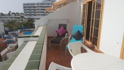 Balcony with Table / Loungers with view to Small Complex Pool